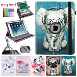 "For 10"" Tablet PC Android Universal PU Leather 360 Rotate Fo"