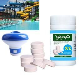 100g Pool Cleaning Tablets + Floating Chlorine Chemical Disp