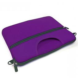 "13"" Purple Laptop Tablet Case w Front Pocket Handle Briefcas"