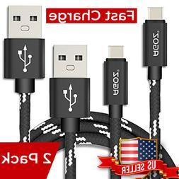 2Pack Braided USB C Cable FAST Charging Charger Type-C Data