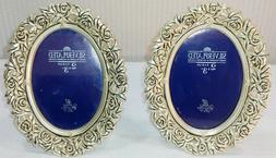 """2 Silver Plated Oval Easel Tabletop Picture Frames 2"""" x 3"""" P"""