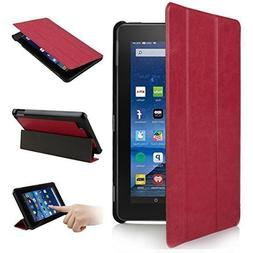 2015 New Fire 7'' Case - Premium Leather Folio Stand Case Co