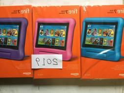 """New Amazon Fire 7 Kids Edition Tablet 7"""" 16 GB Pink Blue Pur"""