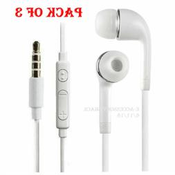 3x In-Ear Earphones Headphones Earbud+Mic+Play/Pause Button
