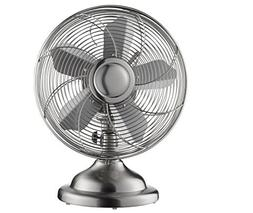 """Insignia™ - 12"""" Retro Table Fan - Stainless Steel"""