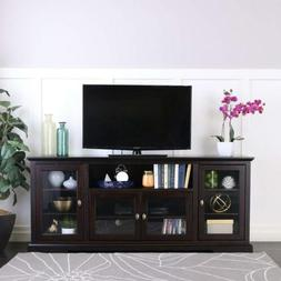 """WE Furniture 70"""" Highboy Style Wood TV Stand Console, Espres"""