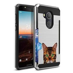FINCIBO Alcatel Revvl Case, Dual Layer Brushed Hybrid Protec
