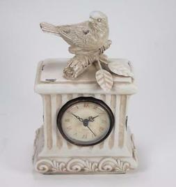 Antique Style Distressed White Bird Clock Tabletop Desk Mant