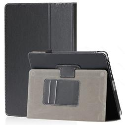 SAVEICON Black PU Folio Leather Case Cover with Built-in Sta