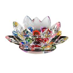 Crystal Lotus Flower Candle Glass Tealight Clear Tabletop Fe