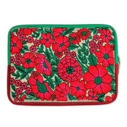 "Embroidered 10"" Tablet Sleeve Padded Lined Case 'Blossoming"