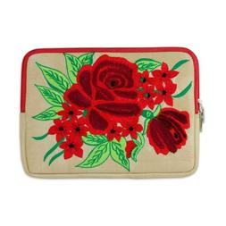 Embroidered Tablet Sleeve Padded Lined Case 'Red Rose Romanc