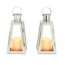 Flameless Candle Lanterns by LampLust | Stainless Steel, 9.5