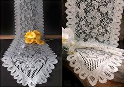 floral scalloped edged lace table runner ivory