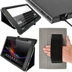 iGadgitz Premium Folio Black PU Leather Case Cover for Sony