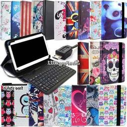 Universal Folio Leather Stand Cover Case With Keyboard For V