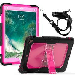 New iPad Case, FITVERS Three Layer Heavy Duty Hard Bumper Ca