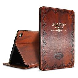 iPad Mini 4 Vintage Brown BOOK Type Leather Case Flip Cover,