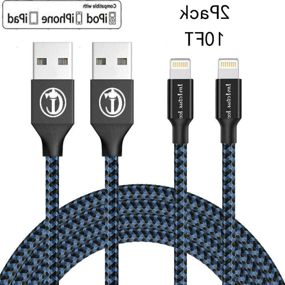 2 Pack 10 Ft Lightning Cable Heavy Duty iPhone 8 7 6 plus  C
