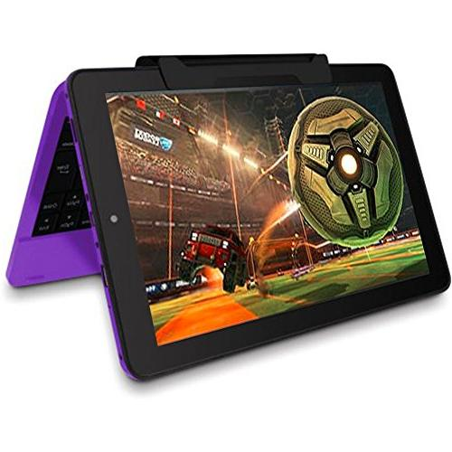 """2016 Newest Premium Performance 10.1"""" 2-in-1 Computer 1G Memory Drive Detachable-Keyboard Webcam Android 5.0 Purple"""