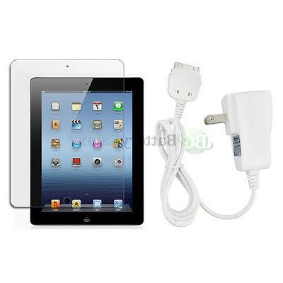 Home Wall AC Charger+LCD Screen Protector for Apple iPad 3 3