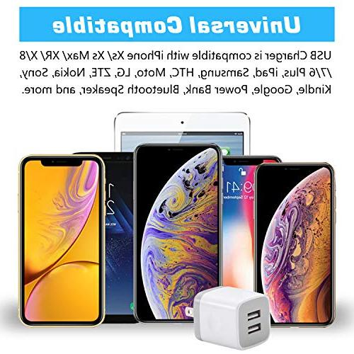 X-EDITION USB Wall Charger,4-Pack 2.1A Dual Cube Power Adapter Charger Plug Cube for iPhone 8/7/6 Plus/X, iPad, Galaxy S5 ZTE, Android