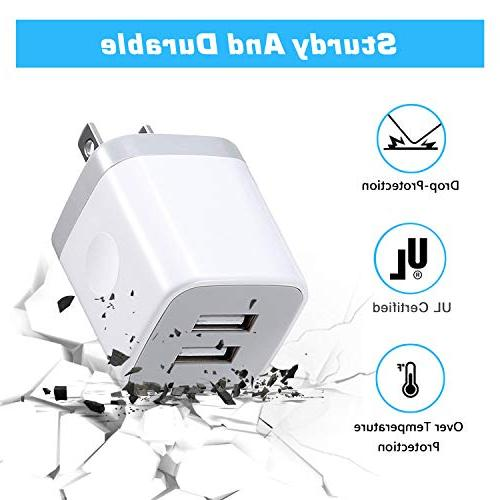 X-EDITION Charger,4-Pack 2.1A Cube Power Wall Charger Plug Cube Plus/X, S5 S6 S7 ZTE,