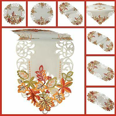 Autumn Fall Tablecloth Table runner Doily White Green Red Or