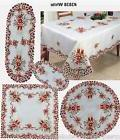 Christmas Poinsettia Bell Candle Placemat Table Runner Table