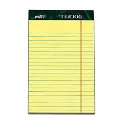 TOPS Docket Writing Tablet, 5 x 8 Inches, Perforated, Canary