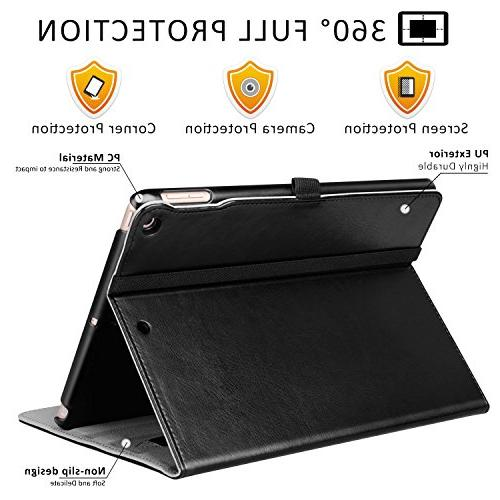 New 9.7 2018/2017 Leather Business Stand Folio Cover Auto Wake/Sleep,Pencil Holder Multiple Angles,All Black