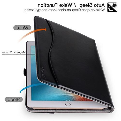 New IPad 9.7 2018/2017 Case, Leather Slim Folding Stand with Auto Multiple Angles,All Black