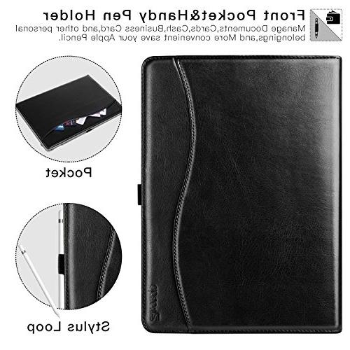 New 9.7 2018/2017 Case, Leather Business Slim Folding Stand Folio Auto Wake/Sleep,Pencil and Multiple Black