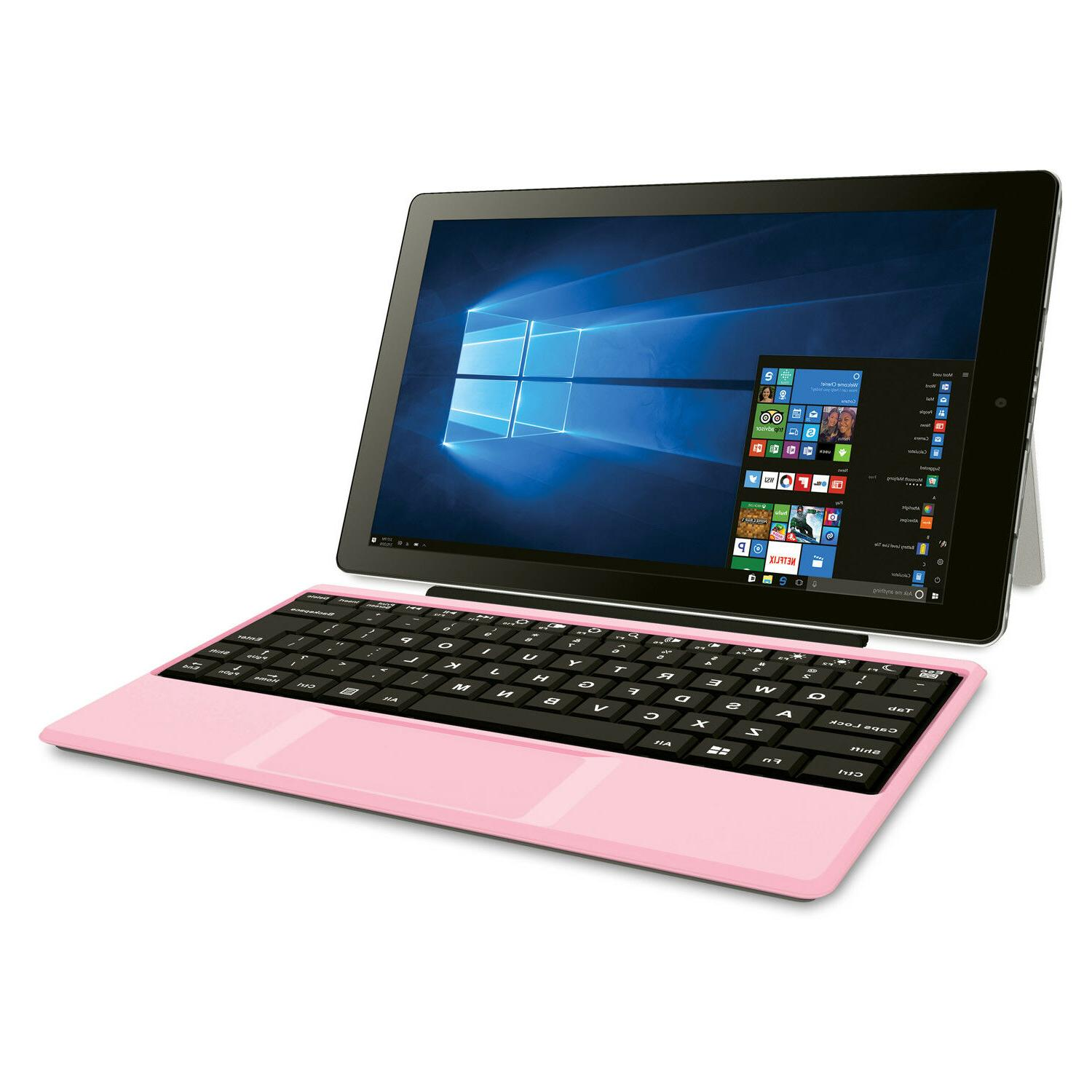 """Pink Laptop Tablet Cambio 10.1"""" 2-in-1 32GB Intel Quad-Core"""