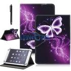"Purple Butterfly Universal 7"" Inch Folio Flip Tablet Stand P"