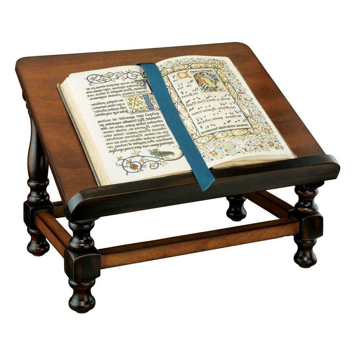 Traditional Solid Wood Tabletop Book Stand Accent Vintage He