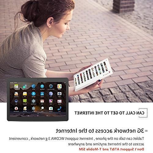 Android Tablet 10 with Slots IPS MTK Core RAM 64GB ROM Bluetooth Unlocked Phone