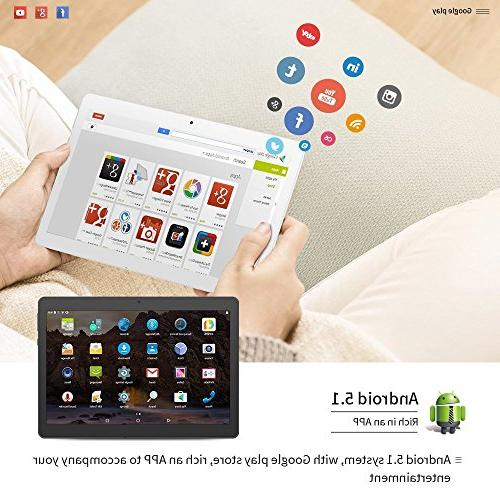 YELLYOUTH Android Dual SIM Card Slot 64GB ROM Octa Core WIFI GPS 10.1 -