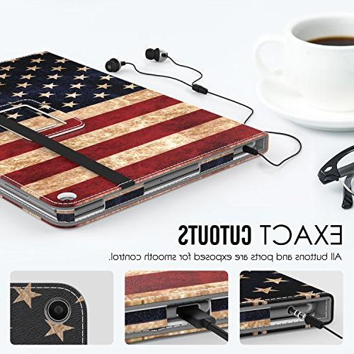 Verizon ASUS Case, Slim Folding Case Wake / ASUS Verizon Tablet 2016, US Flag