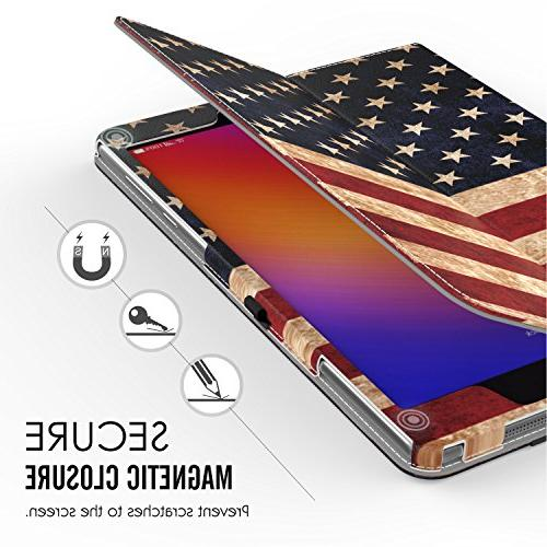 Verizon Case, MoKo Slim Folding Stand Cover Case Wake / Sleep & ASUS Verizon Tablet Flag