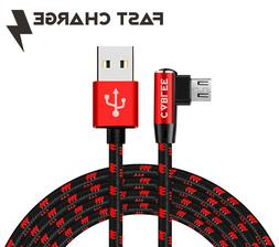 L Shape Braided 10ft 6ft 4ft Micro USB FAST Charge Data Cabl