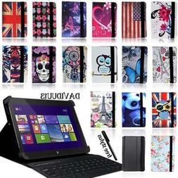 LEATHER STAND COVER CASE + Bluetooth Keyboard For Various De