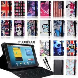 """LEATHER STAND COVER CASE + Bluetooth Keyboard For Various 8"""""""