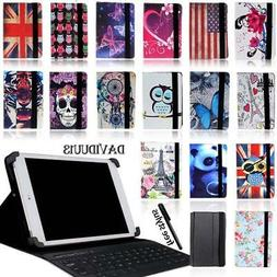 LEATHER STAND COVER CASE + Bluetooth Keyboard For Various 7