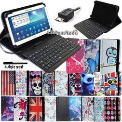 """Leather Stand Cover Case With Keyboard For 7"""" 8"""" 10"""" Samsung"""