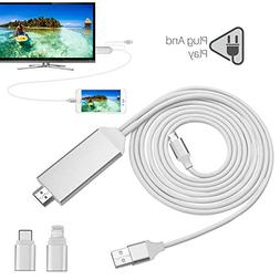 Lightning to HDMI Adapter Cable, XTECH 6.5ft iPhone to HDMI