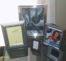 LOT5 SILVER FINISH PICTURE FRAMES WITH GLASS, TABLETOP MOST