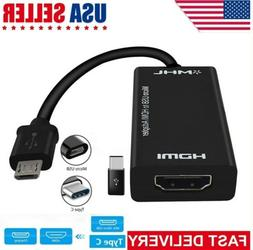 MHL Type C & Micro USB Male to HDMI Female Adapter Cable For