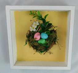 NEW Ashland Framed Birds Nest Tabletop Decor Shadowbox Yello