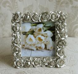 NEW! Photo Picture Frame Silver Roses Tabletop 4 x 4, Weddin